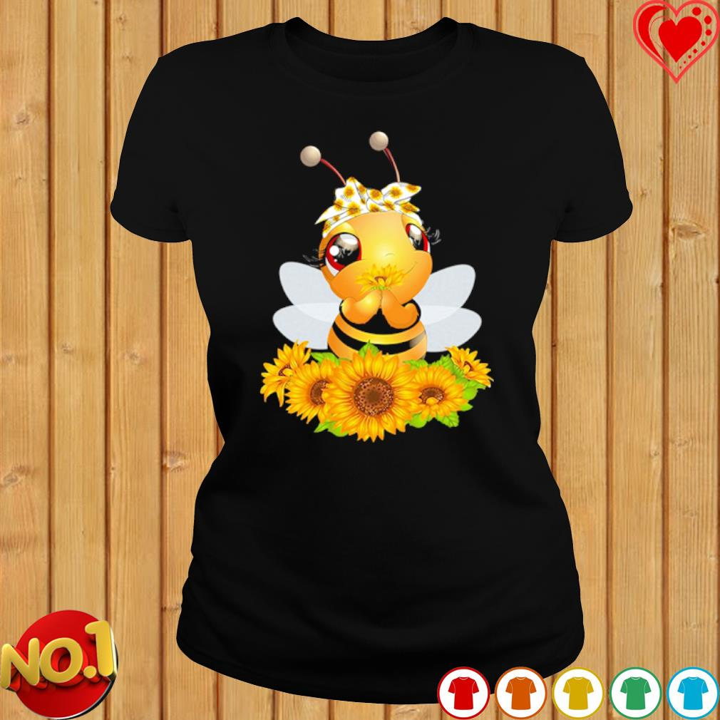 Bee Happy Sunflower Peace s ladies-tee