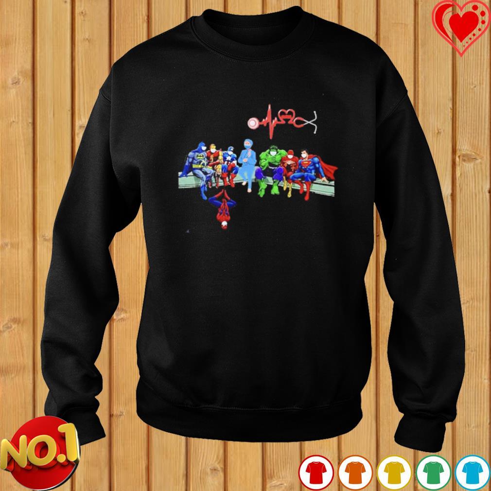 Heartbeat Nurse and Superheroes Covid-19 s sweater