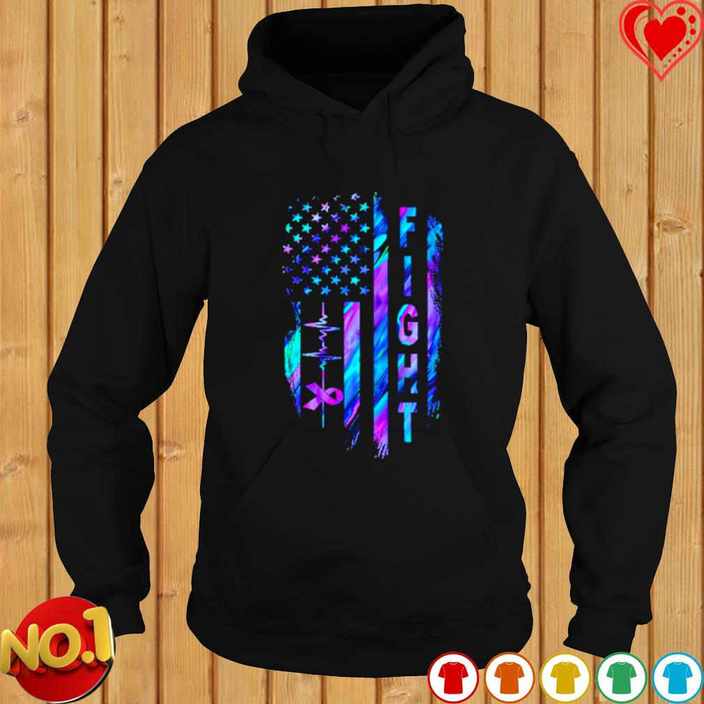 Heartbeat Fight Alzheimer's American flag s hoodie