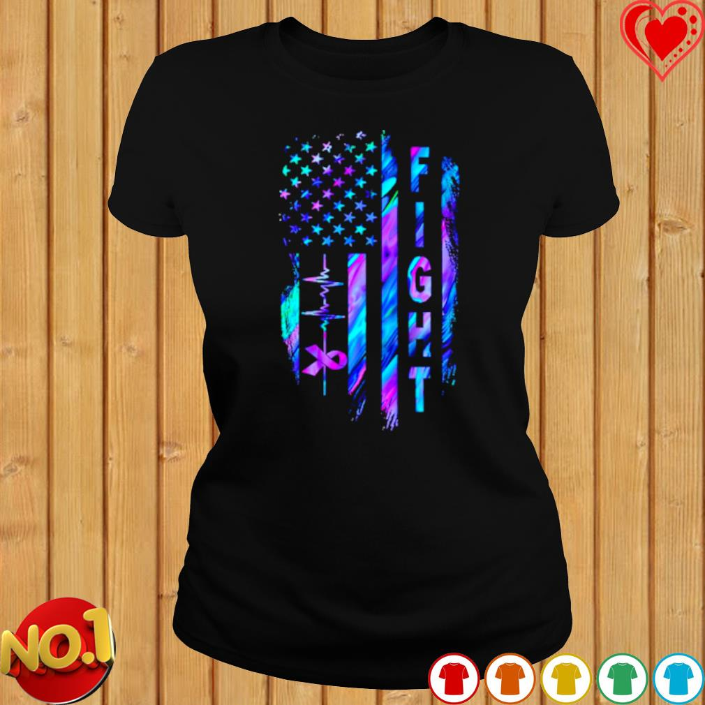 Heartbeat Fight Alzheimer's American flag s ladies-tee