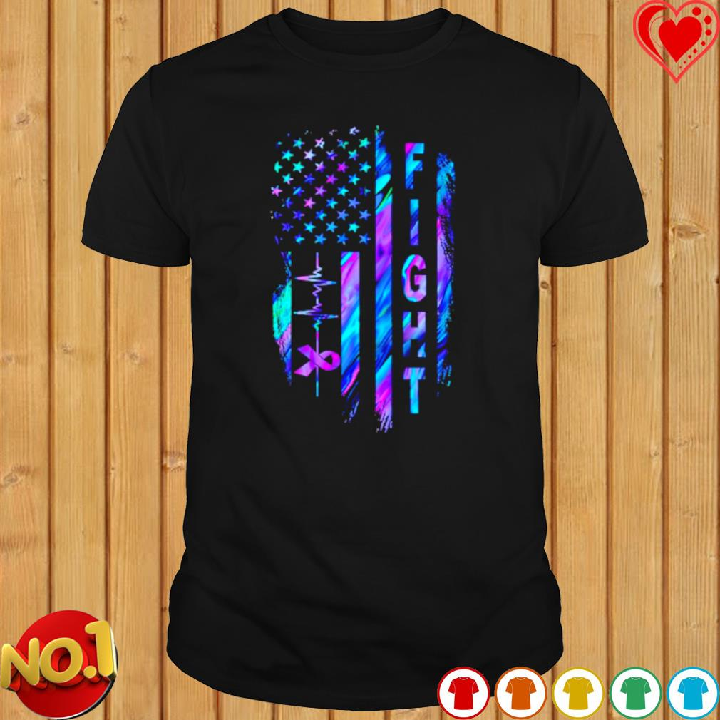 Heartbeat Fight Alzheimer's American flag shirt