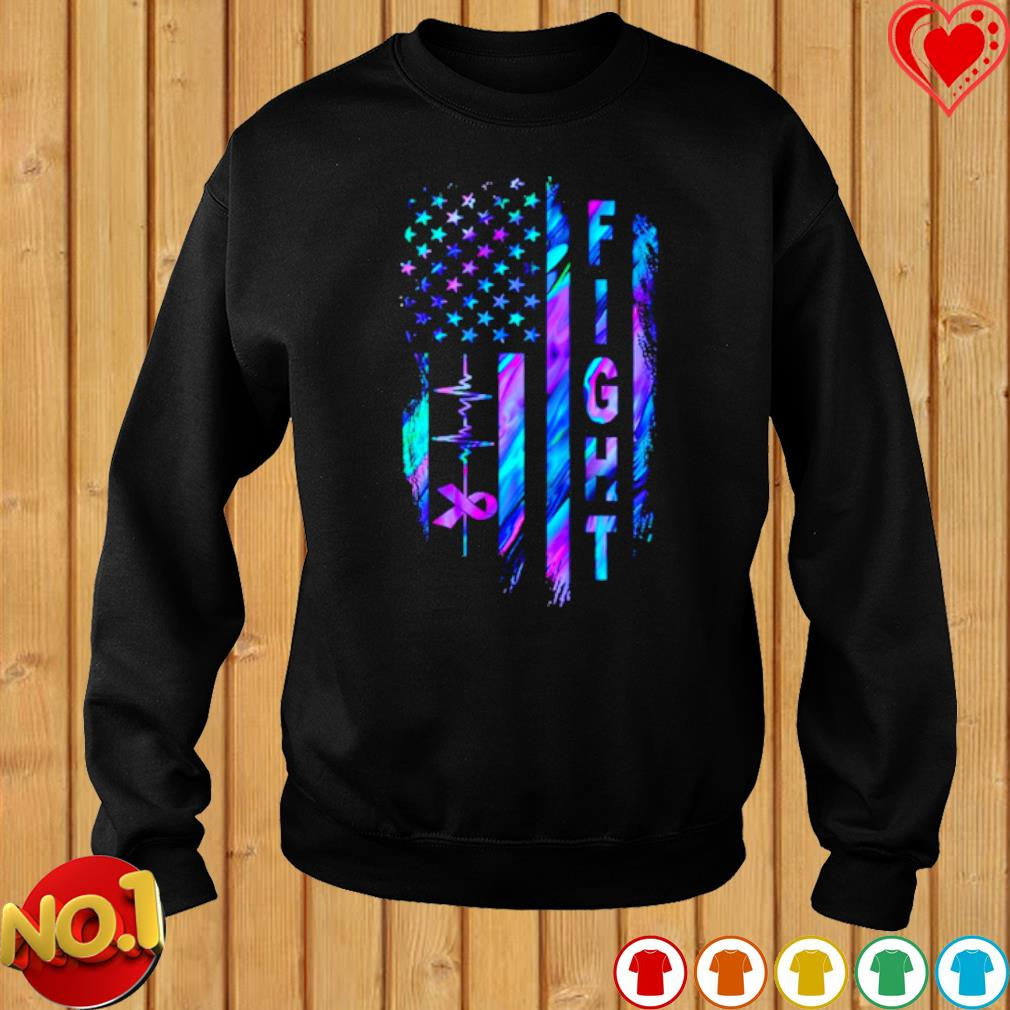 Heartbeat Fight Alzheimer's American flag s sweater