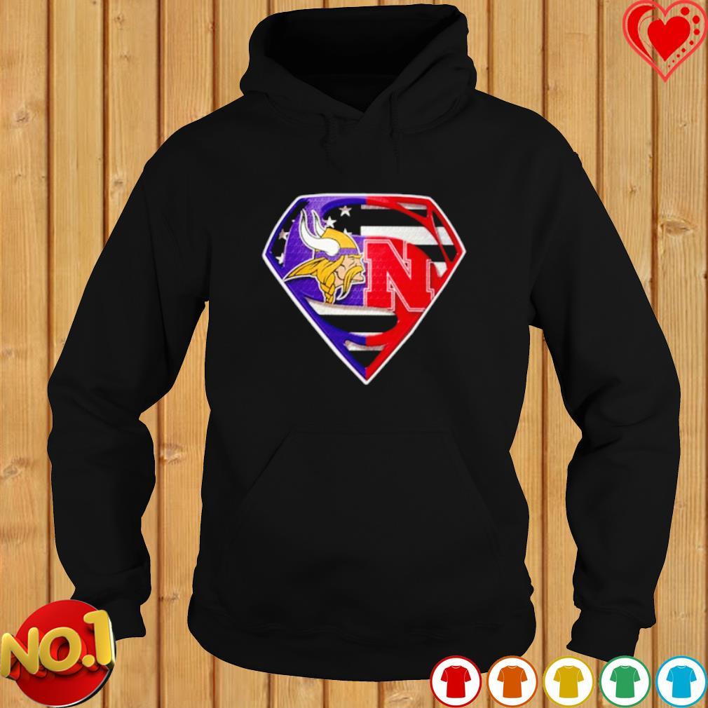 Minnesota Vikings and Nebraska Cornhuskers Superman s hoodie