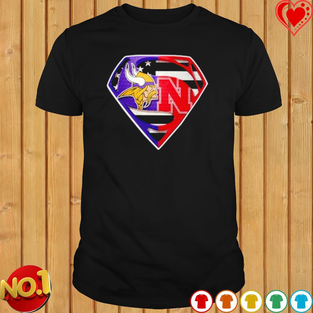 Minnesota Vikings and Nebraska Cornhuskers Superman shirt