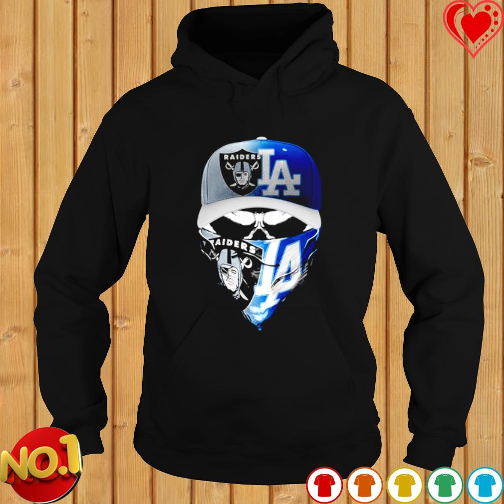 Oakland Raiders and Los Angeles Dodgers skull s hoodie