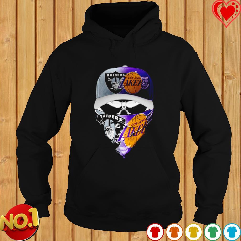 Oakland Raiders and Los Angeles Lakers skull s hoodie