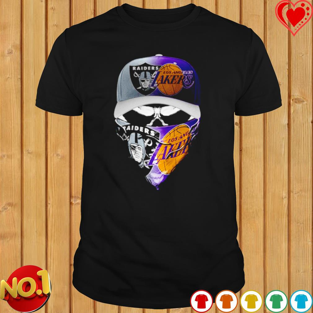 Oakland Raiders and Los Angeles Lakers skull shirt
