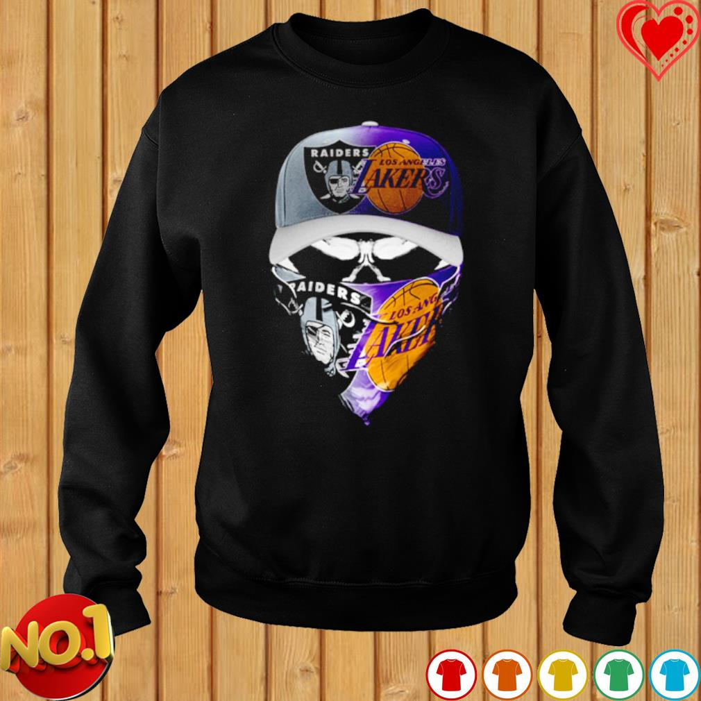 Oakland Raiders and Los Angeles Lakers skull s sweater