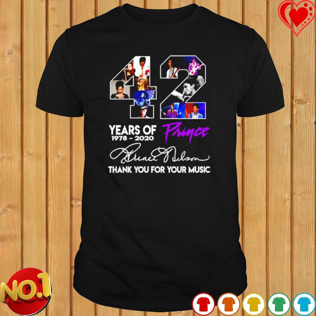 42 years of Prince 1978 2020 thank you for your music shirt
