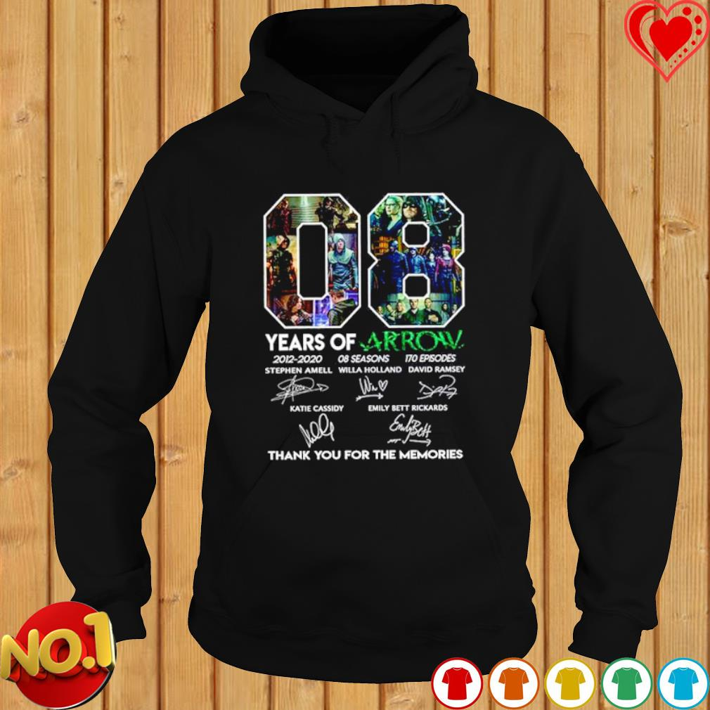 08 years of Arrow 2012 2020 thank you for the memories signature s hoodie