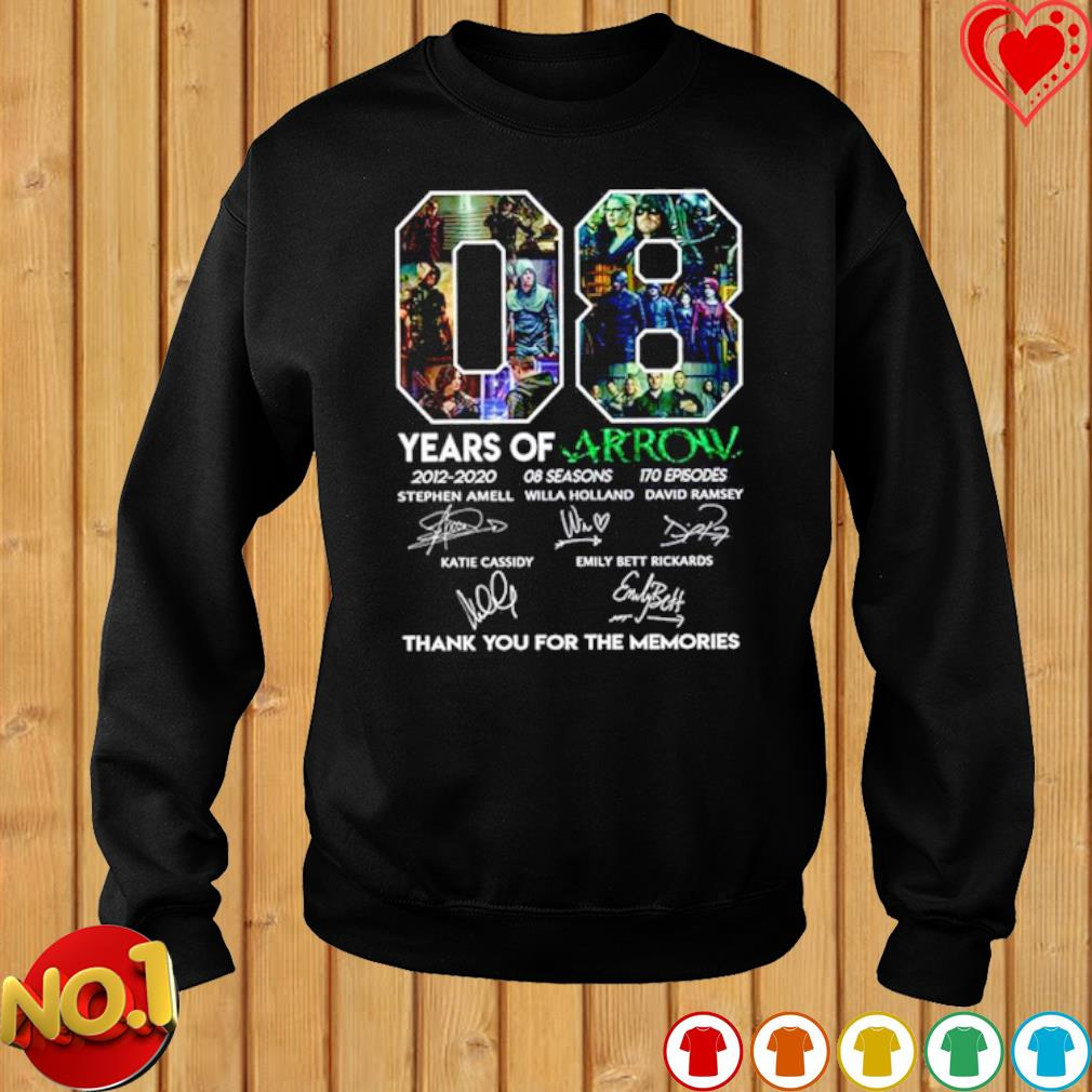 08 years of Arrow 2012 2020 thank you for the memories signature s sweater