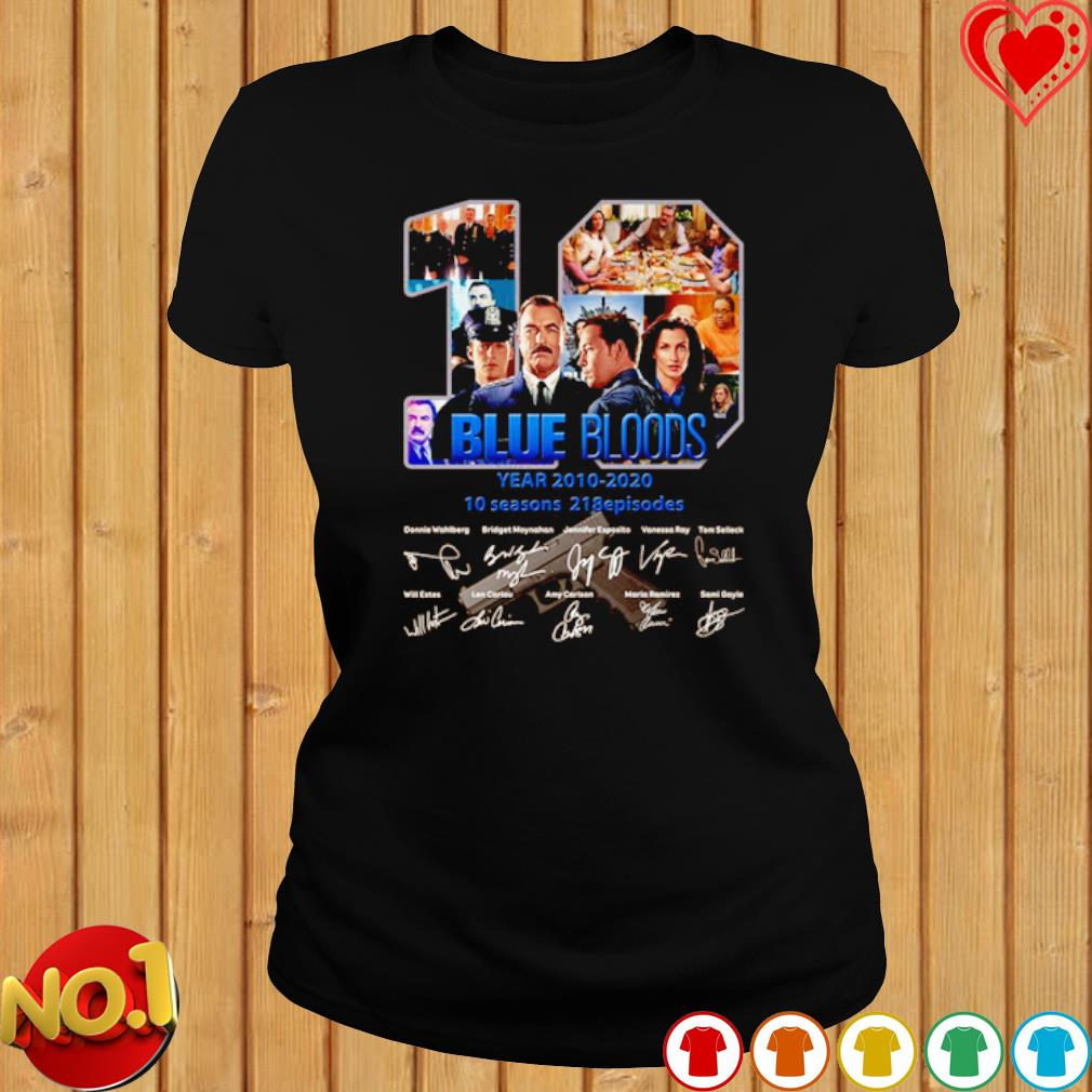 10 years of Blue Bloods 2010 2020 signature s ladies-tee