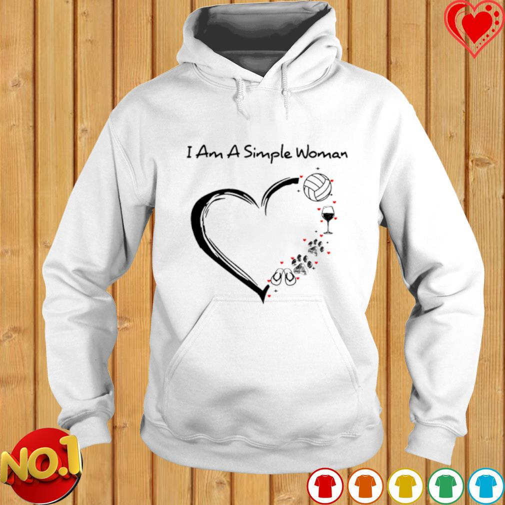 I am a simple woman I love Volleyball wine dog and flip flops s hoodie