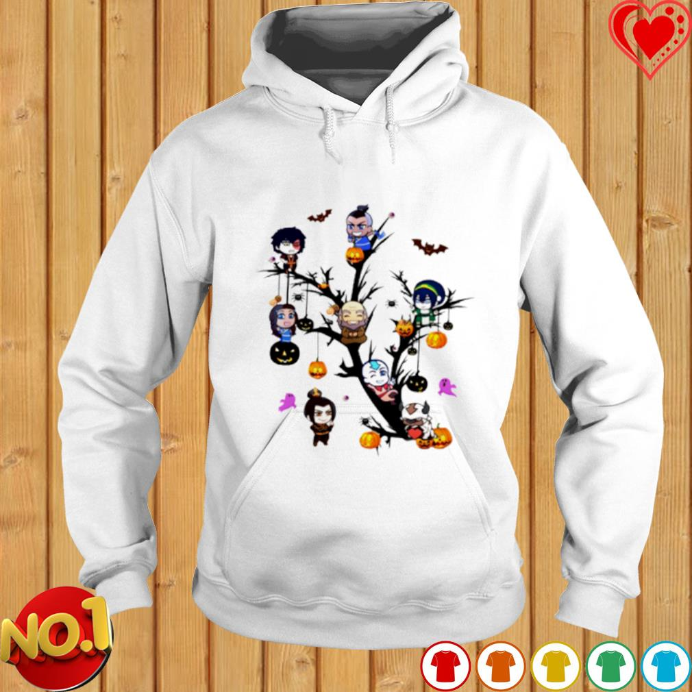 The Last Airbender characters chibi on the tree Halloween s hoodie