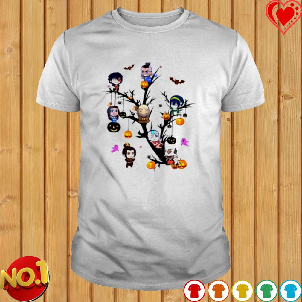 The Last Airbender characters chibi on the tree Halloween shirt