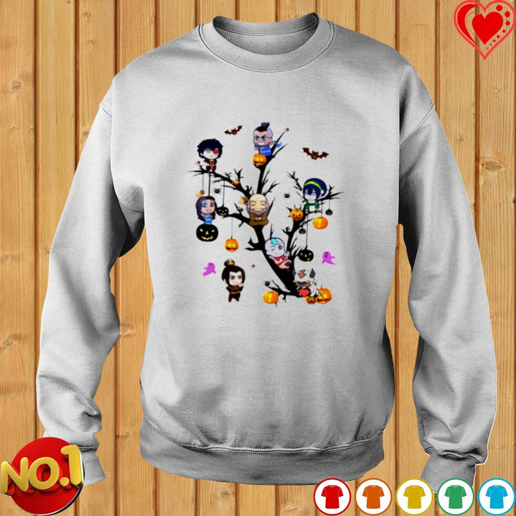 The Last Airbender characters chibi on the tree Halloween s sweater