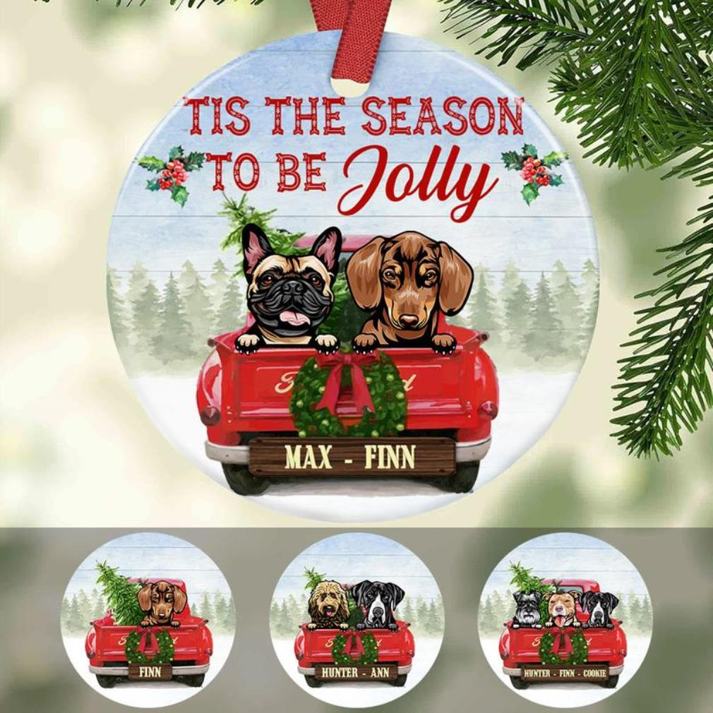 Dog red truck jolly Christmas Ceramic ornament