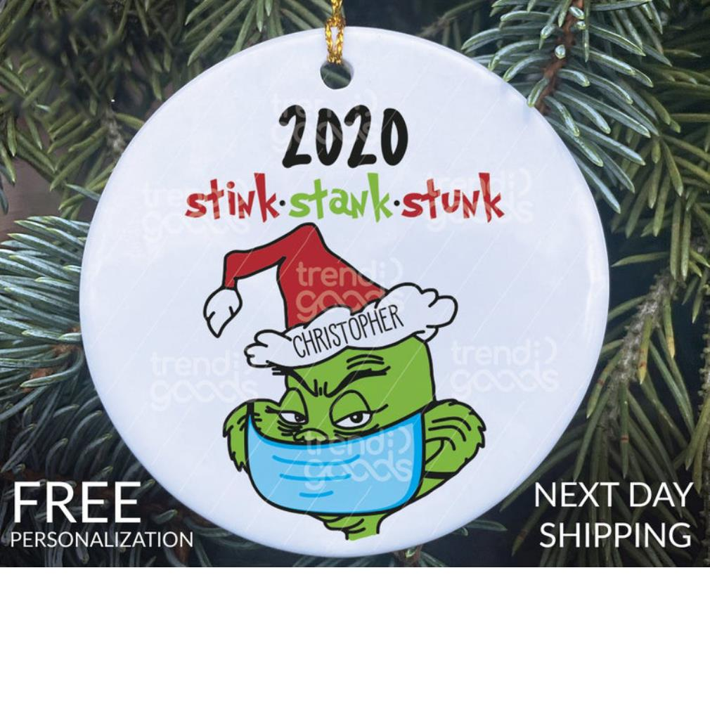 Grinch face mask 2020 stink stank stunk Christmas ornament