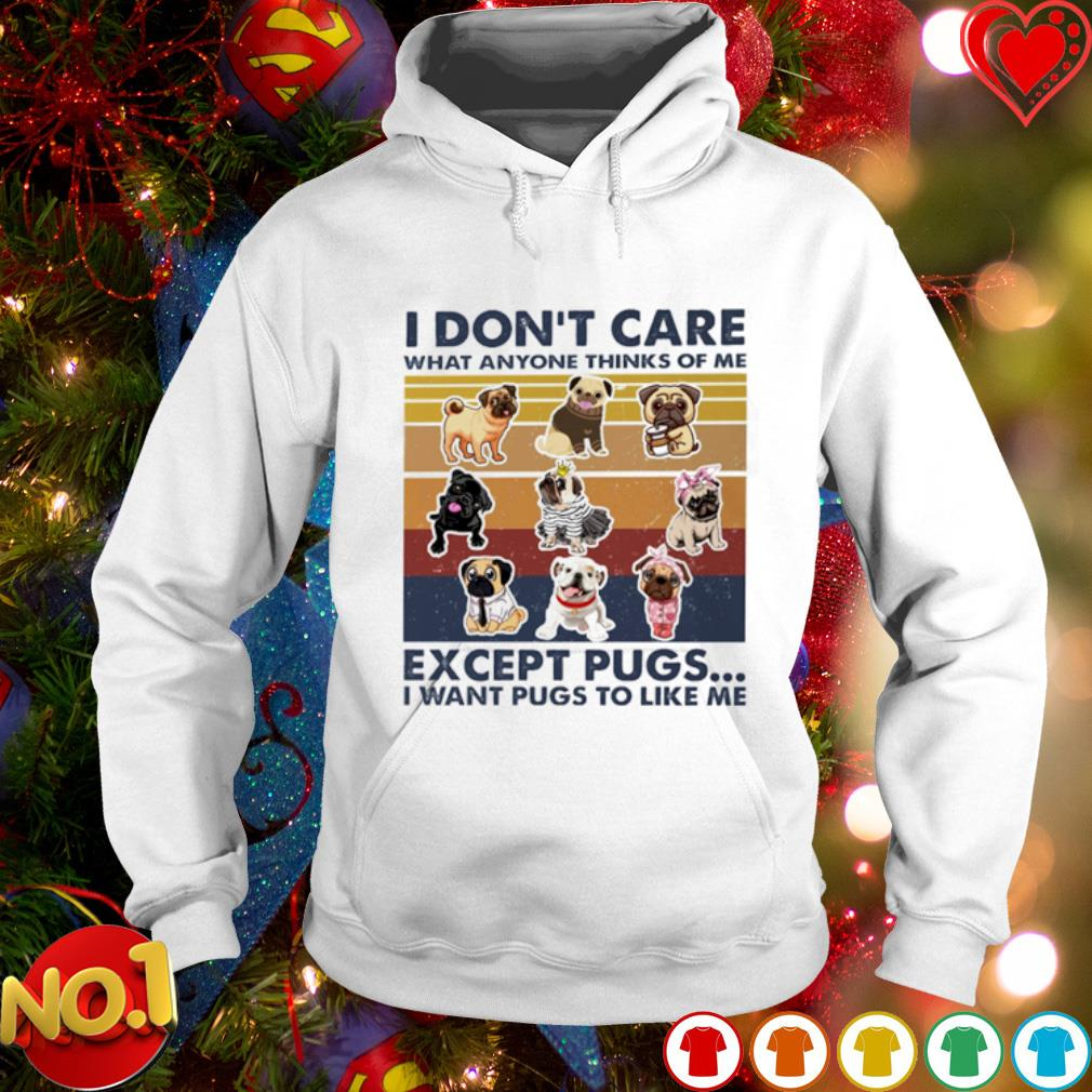 I don't care what anyone thinks of me except pugs I want pugs to like me vintage s hoodie