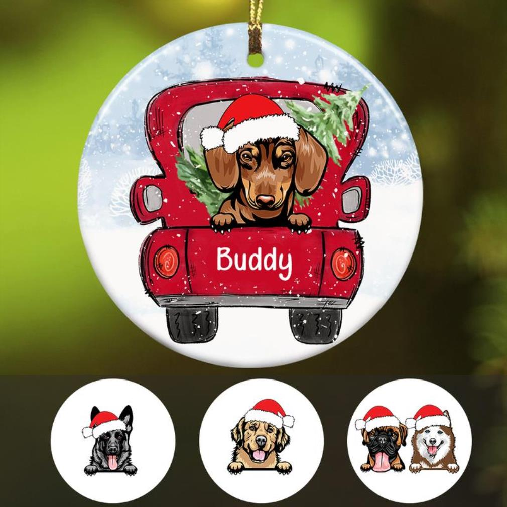 Personalized dog Christmas 2020 full ceramic ornament