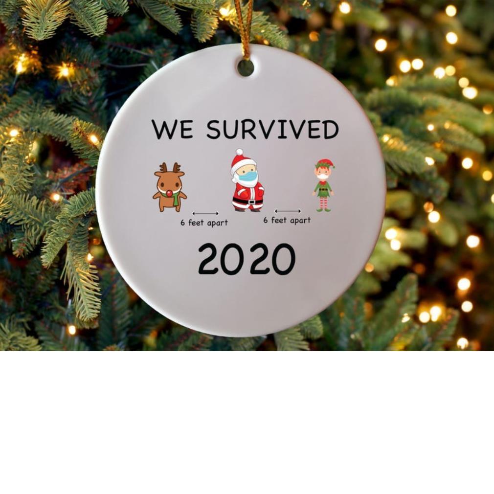 Feaet Of Christmas 2020 Reindeer Santa Elf we survived 2020 6 feet apart Christmas ornament