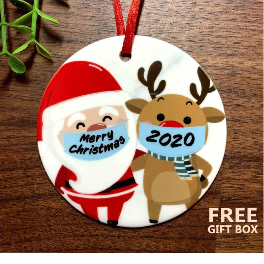 Santa and Reindeer face mask merry Christmas 2020 ornament
