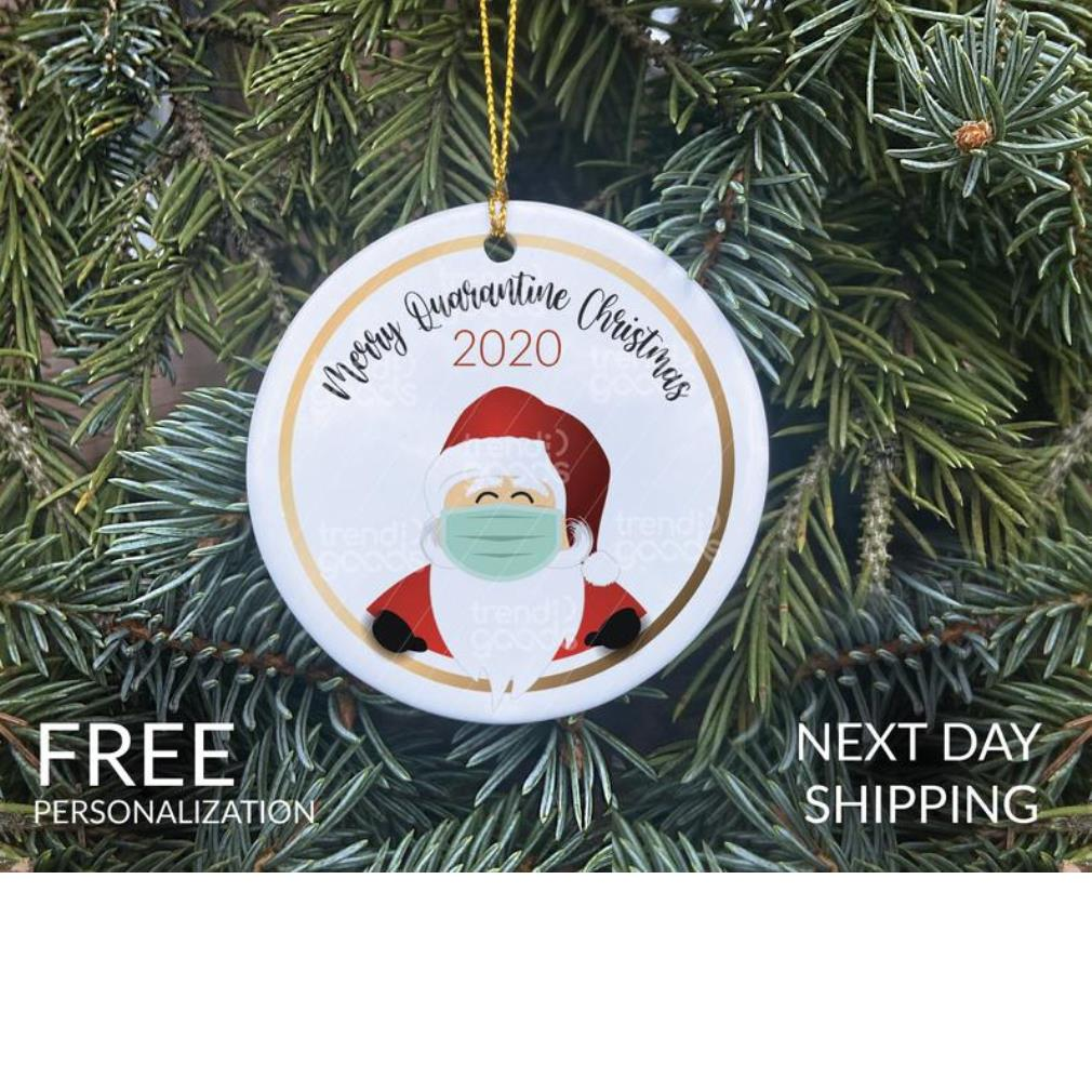 Santa merry quarantine Christmas 2020 ornament