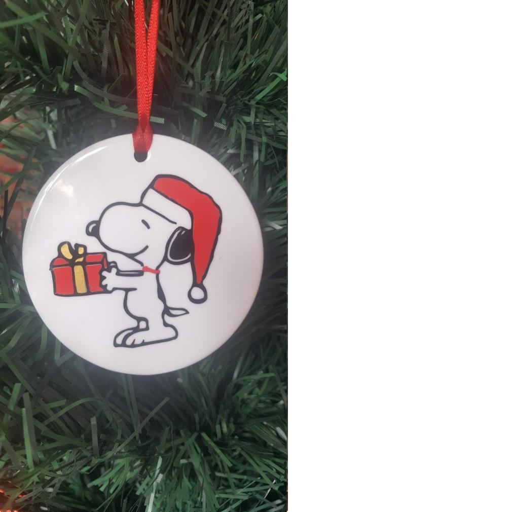 Snoopy give a gift Christmas ornamet