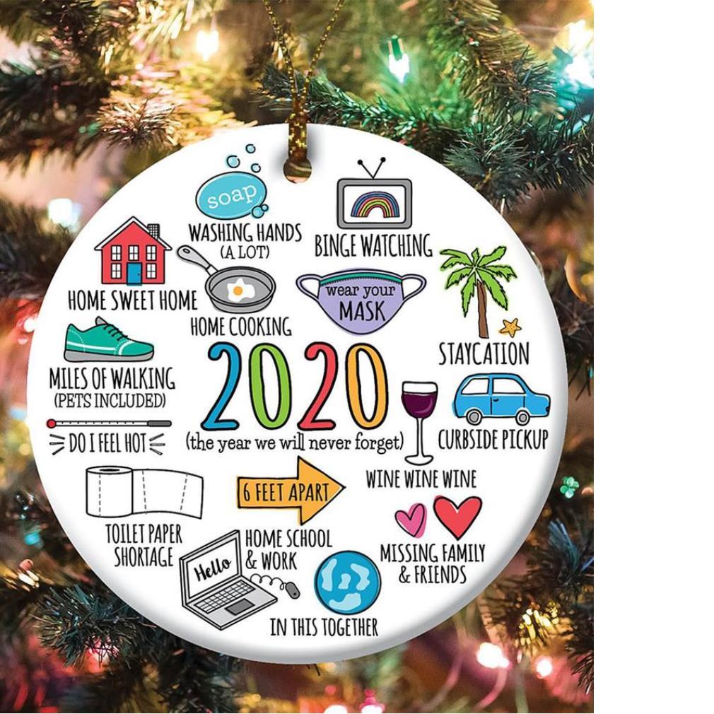 White 2020 memories round ceramic ornament