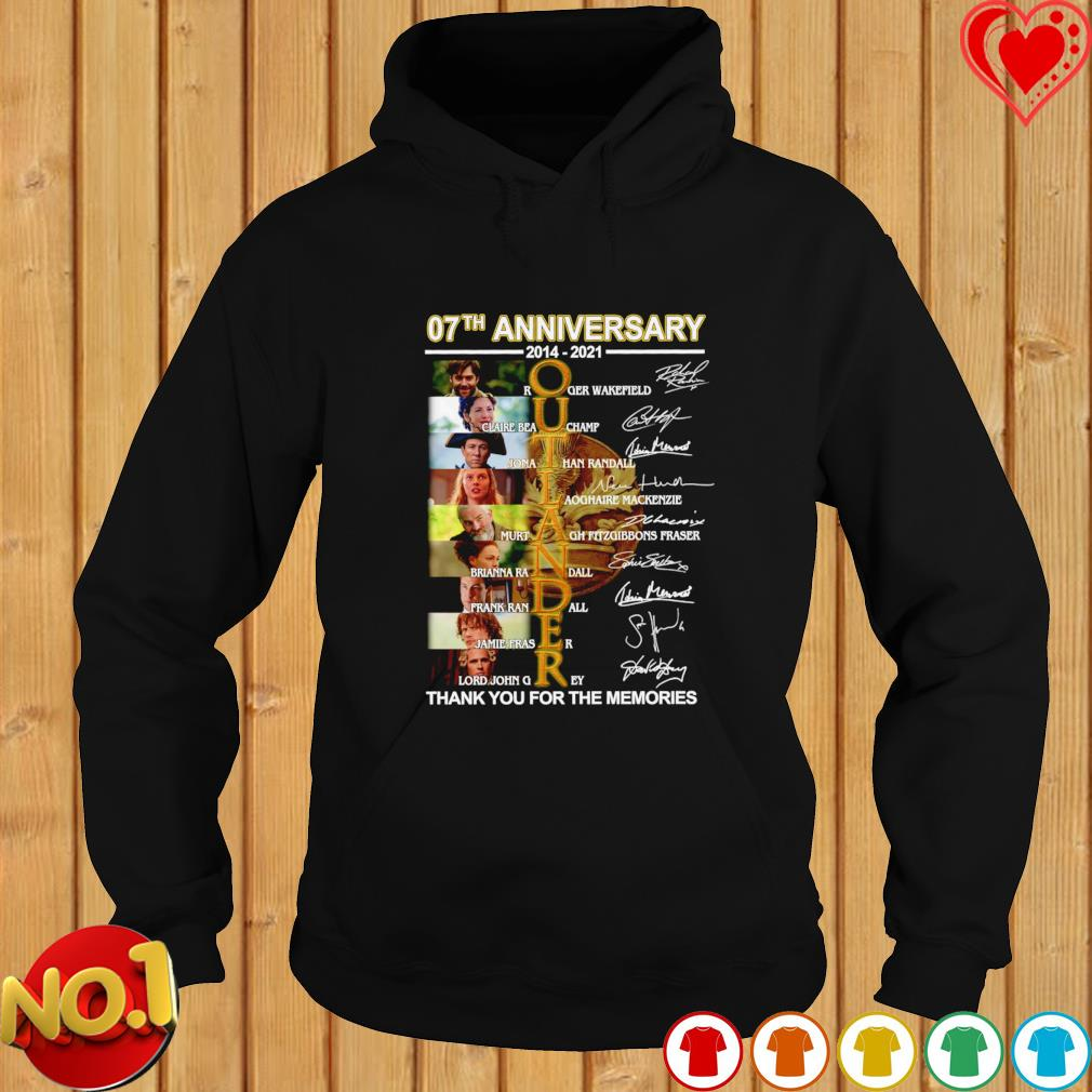 07th anniversary 2014 2021 Outlander thank you for the memories signatures s hoodie