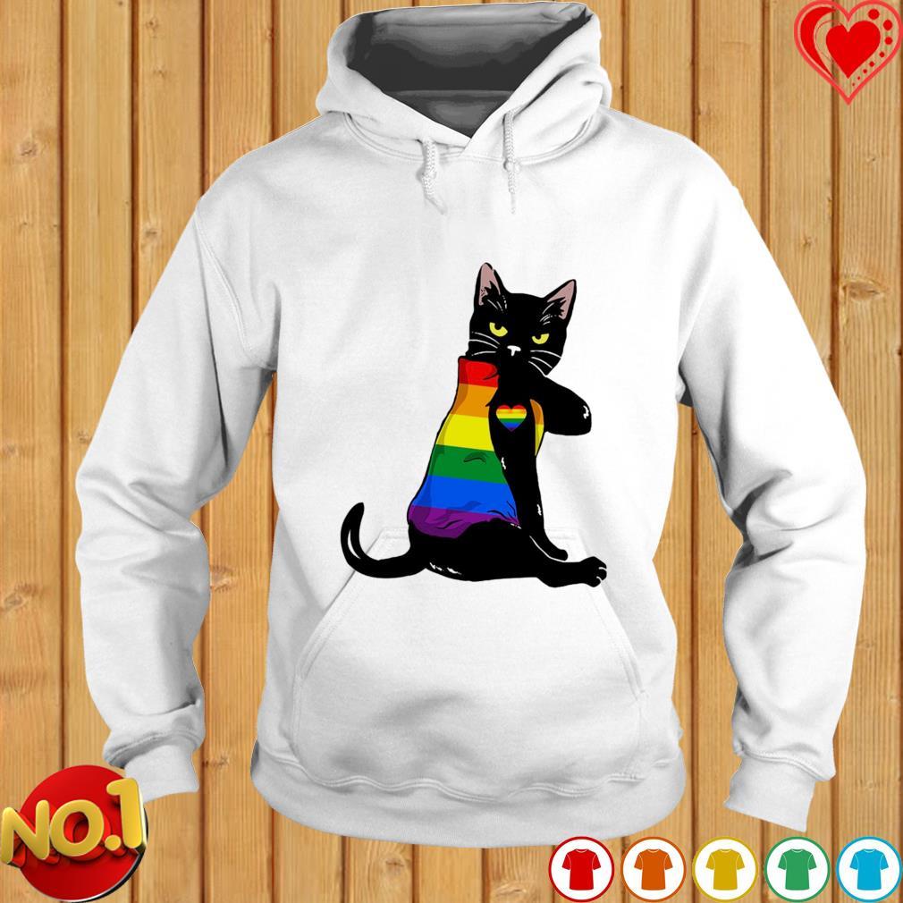Black cat tattoo love LGBT s hoodie